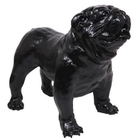 Statue en résine CHIEN bouledogue anglais noir - 90 cm