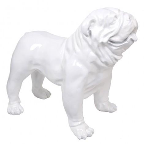Statue en résine CHIEN bouledogue anglais blanc - 90 cm