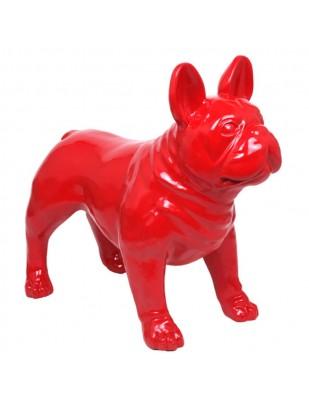Statue CHIEN bouledogue Français rouge - 90 cm