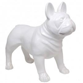 Statue CHIEN bouledogue Français blanc - 90 cm