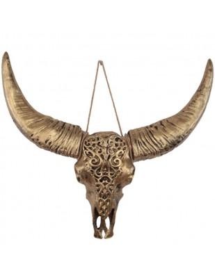 Statue tête de VACHE TAUREAU trophée doré - 56 cm