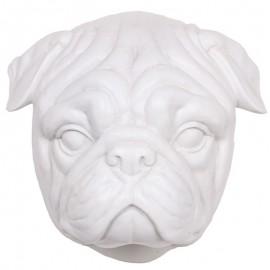 Statue tête de chien BOULEDOGUE anglais en résine blanche - 23 cm