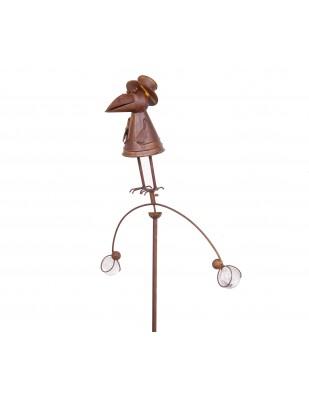 Mobile statue corbeau en fer et verre  - 163 cm