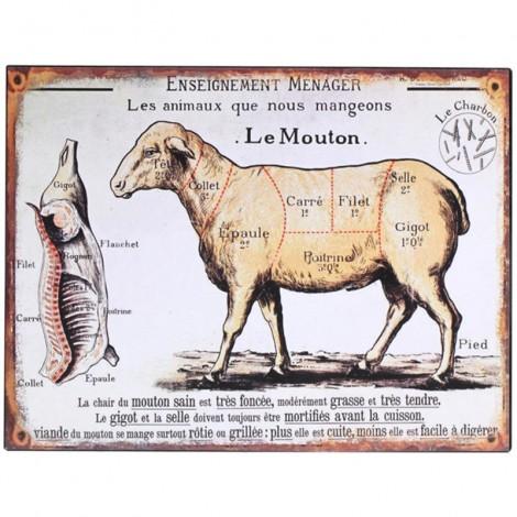 PLAQUE tôle publicitaire en fer mouton découpe cuisine boucherie - 33 cm