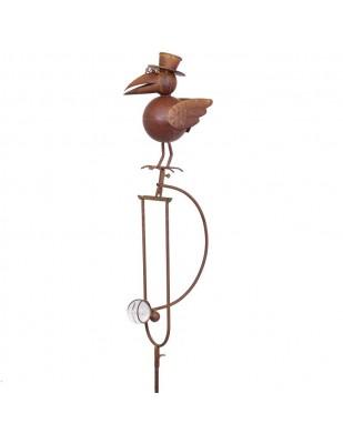 Statue mobile de corbeau en fer et verre  - 151 cm