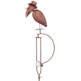 Statue mobile d'un corbeau en fer et en verre  - 151 cm