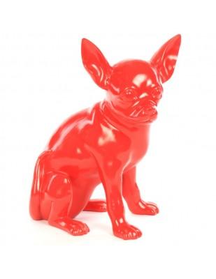 Statue CHIEN chihuahua assis rouge en résine - 38 cm