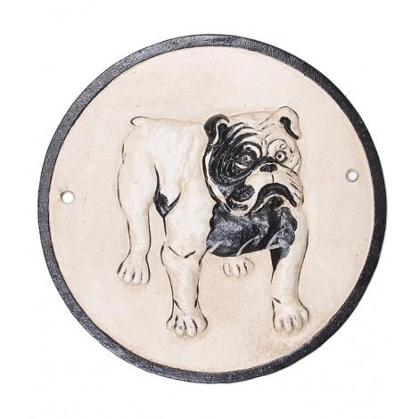 Plaque de garde statue chien BOULEDOGUE Anglais en fonte - 24 cm