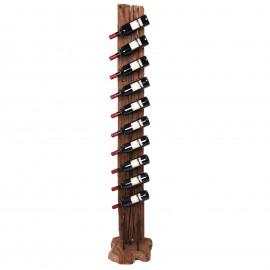 Porte-bouteille, en bois de teck et fer dix inserts de présentation - 193 cm