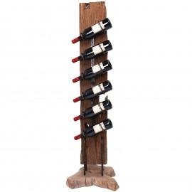 Porte bouteille, en bois de teck et fer six inserts de présentation - 133 cm