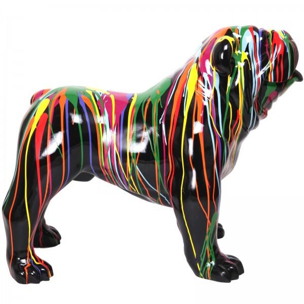 statue en r sine chien bouledogue anglais noir et multicolore 90 cm. Black Bedroom Furniture Sets. Home Design Ideas