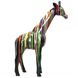 Statue en résine girafe multicolore - 110 cm