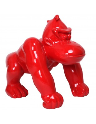 Statue en résine donkey kong gorille singe rouge - 70 cm