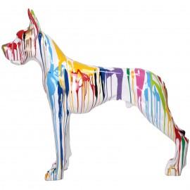 Statue en résine CHIEN dogue allemand multicolore - 120 cm