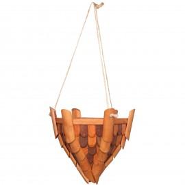 Jardinière en bois à suspendre tuiles marron - 33 cm
