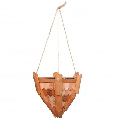 Jardinière en bois à suspendre tuiles beige et marron - 33 cm
