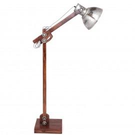 Lampadaire vintage en bois et fer réglable - 162 cm