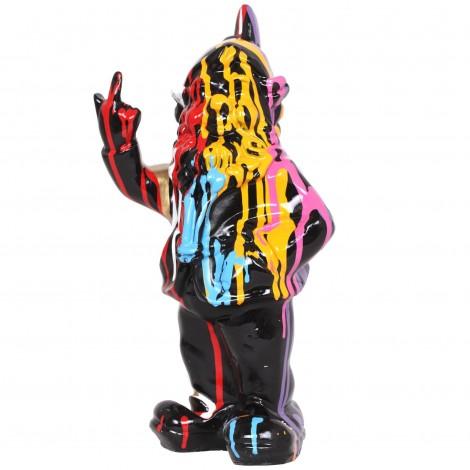 Statue en résine nain de jardin doigt d'honneur multicolore Louis - 33 cm