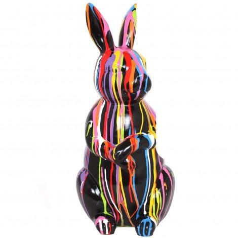 Statue en résine Lapin multicolore Léon - 53 cm