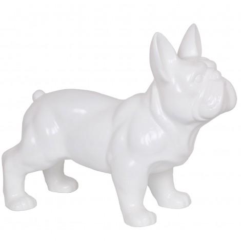 Statue CHIEN bouledogue Français blanc - 45 cm