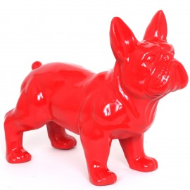 Statue chien bouledogue Français rouge en résine - 45 cm