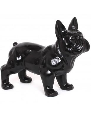 Statue chien bouledogue Français noir en résine - 45 cm