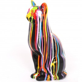 Statue en résine chat multicolore Robert  - 40 cm