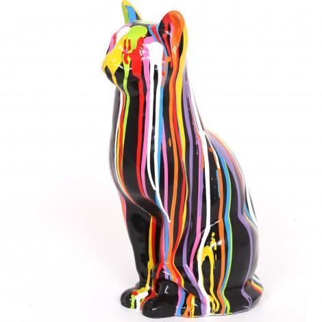 Statue en résine chat multicolore Robert - 40 cm