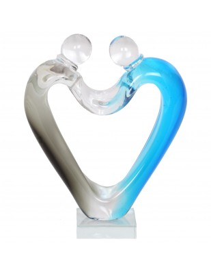 Statue en verre de style Murano femme et homme bleu - 26 cm