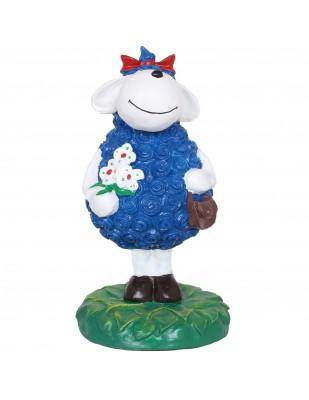 Statue mouton brebis bleu en résine - 49 cm