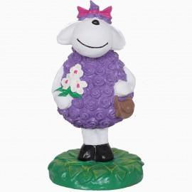 Statue mouton brebis violet en résine - 49 cm
