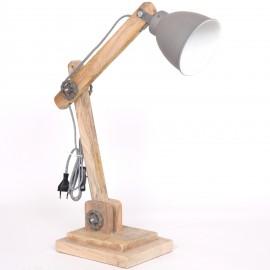 Lampe vintage en bois clair et fer couleur gris atelier réglable - 67 cm