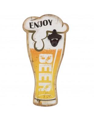 Décapsuleur mural verre de bière en bois - 40 cm
