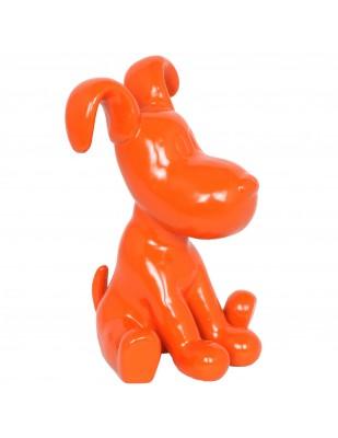 Statue chien Snoopy orange en résine - 28 cm