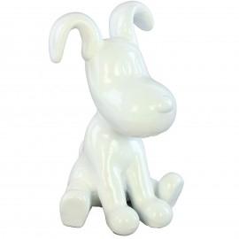 Statue chien Snoopy blanc en résine - 28 cm