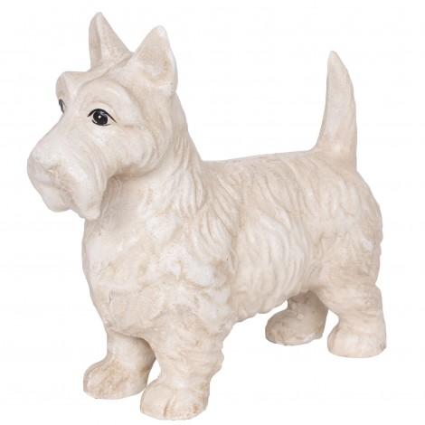 Statue chien Scottish en fonte couleur blanc - 22 cm
