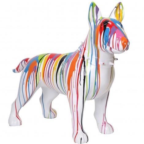 Statue chien bull terrier multicolore en résine (Jules) - 110 cm