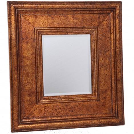 Miroir mural biseauté en bois doré patine antique classique - 60 cm