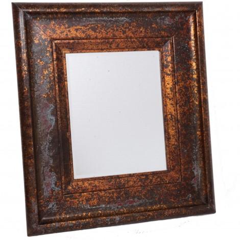 Miroir mural biseauté en bois doré patine vintage usine - 87 cm