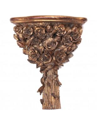 Console d'applique murale étagère dorée en résine bouquet de fleurs patine antique - 40 cm