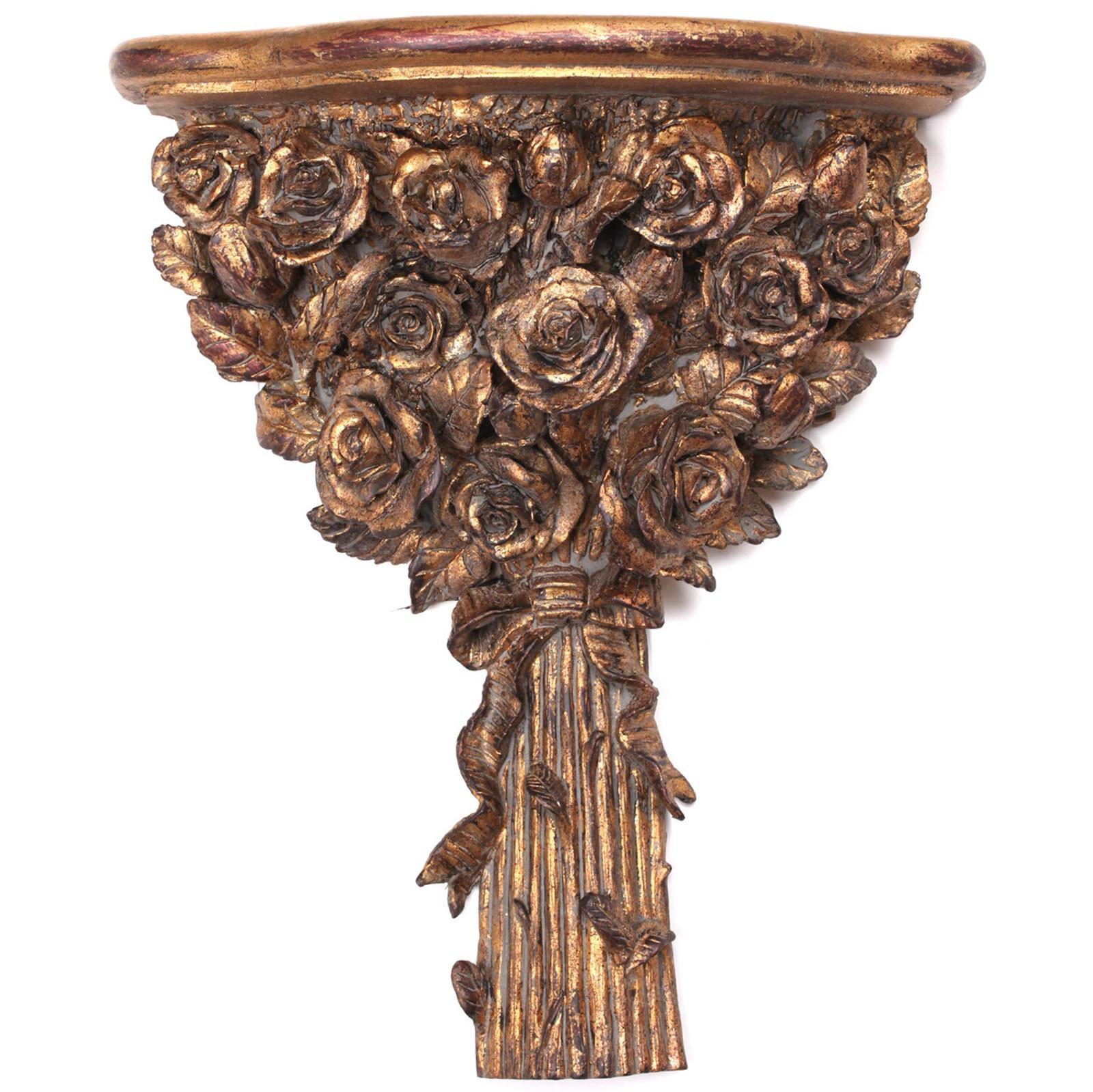 console d 39 applique tag re dor e r sine bouquet de fleurs 40 cm. Black Bedroom Furniture Sets. Home Design Ideas
