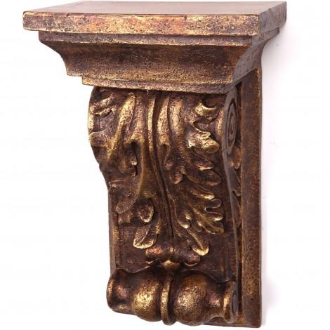 Console d'applique murale étagère dorée en résine à feuilles d'acanthe patine antique - 45 cm