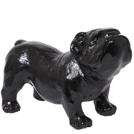 Statue en résine CHIEN bouledogue anglais noir - 60 cm