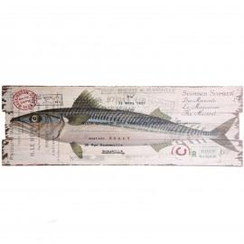 Tableau en bois (poisson maquereau) - 90 cm
