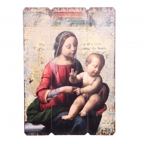 Tableau en bois vierge marie et enfant jésus - 70 cm