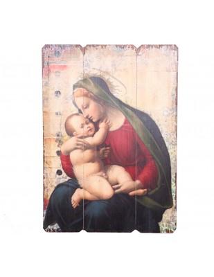 Tableau en bois vierge marie veillant sur l'enfant jésus - 70 cm