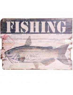 Tableau en bois (poisson chat) - 70 cm