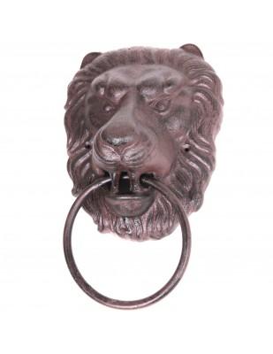 Heurtoir de porte en fonte marron tête de lion - 33 cm