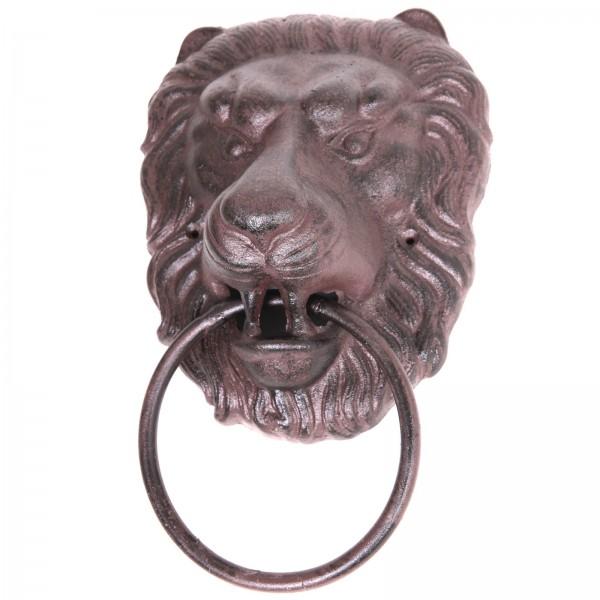 Heurtoir de porte en fonte marron t te de lion 33 cm - Heurtoir de porte tete de lion ...