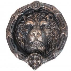 Heurtoir de porte en fonte verte et dorée tête de lion ronde - 24 cm
